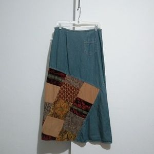 J.jill denim patchwork maxi skirt Size 8